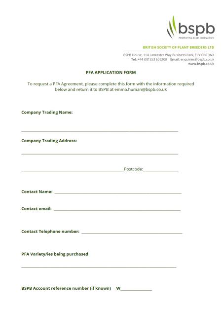 PFA Application Form